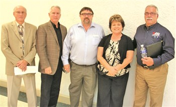 "Candidates for the Harrodsburg City Commission are pictured, left to right: Charlie Mattingly, Scott Moseley, Marvin ""Bubby"" Isham, Wendi W. Allen and Jack L. Coleman."
