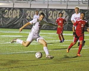 Mercer County junior Brandon Ballard scored three goals in the Titans win over Wayne County Tuesday night.