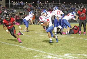 Mercer County senior Dustin Baker had 82 rushing yards on 12 carries Friday night in the Titans 28-20 win over Taylor County.