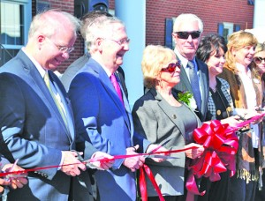 Pictured left to right: Campbellsville University President Michael V. Carter, U.S. Sen. Mitch McConnell, Carol Conover, Michael Conover and State Rep. Kim King helped cut the ribbon opening the new Conover Education Center in Harrodsburg.