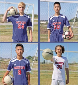 Mercer County soccer seniors who attended GSP over the summer are pictured, from top left, clockwise: Garrett Dean, Jae Blankenship, Nick McClain and Jackie Cheng.