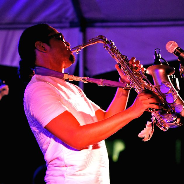 The Harrodsburg Herald/Robert Moore Saxophonist Adrian Crutchfield, who headlined last year's Jazz Festival, brought down the house with a special tribute to Prince.