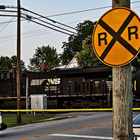 The Harrodsburg Herald/Robert Moore Last week's derailment left every railroad crossing except for the one at West Lane blocked for about seven hours. Even when they're rolling, because of the size of the trains and the speeds they travel, crossings are blocked for longer than state and local ordinances allow, officials say.