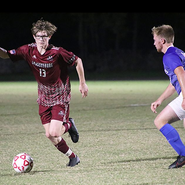 The Harrodsburg Herald/Sam Warren Freshman midfielder Hunter Booth,a 2020 graduate of Mercer County Senior High School scored two goals in the Pioneer's 3-1 defeat of Great Lakes Christian on Friday, Oct. 9.