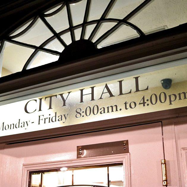 City Hall Front Door Film Noir