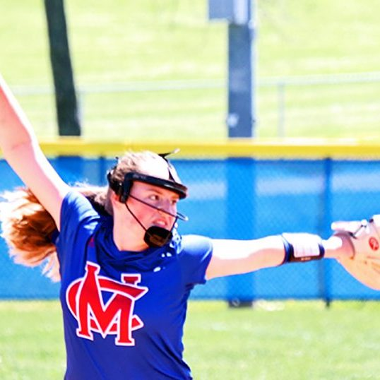 The Harrodsburg Herald/Sam Warren Junior Elle Prewitt pitched 9 innings between the Lady Titans' two games on Saturday. Her final three innings in the game against Cooper helped secure Mercer's win.