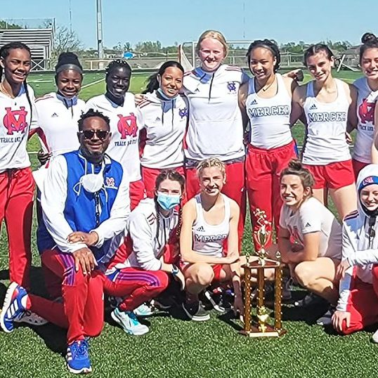 Photo submitted The Mercer County Senior High School Lady Titans track team pictured with the first place trophy after winning the Bronco Classic track meet at Frederick Douglass High School in Lexington.