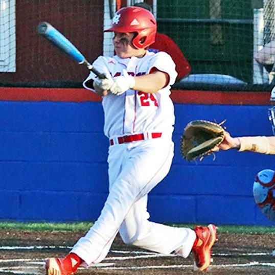 The Harrodsburg Herald/Cayden Devine Senior Noah Cocanougher knocked a single into the left field to drive in a run in Monday night's win against district rival West Jessamine.