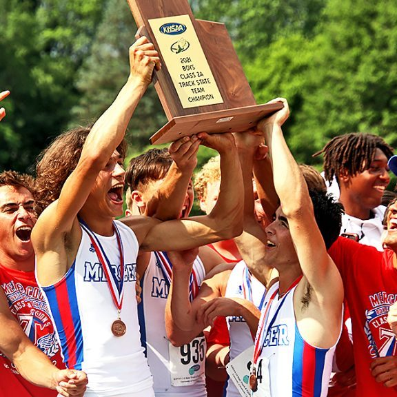 The Harrodsburg Herald/Sam Warren The Mercer County Senior High School boys track and field team were all smiles after winning their first state championship since 2017. The squad scored 78.5 points during the class AA track meet on Friday, June 11, edging out Highlands with 75 points.