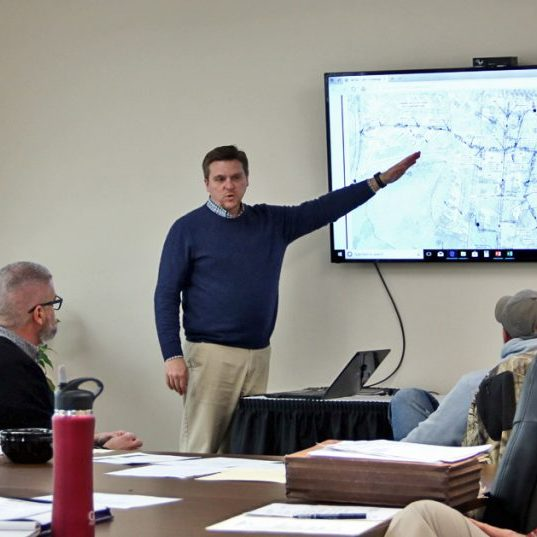 (File photo, the Harrodsburg Herald). Mike Sanford of the Mercer County Sanitation District gives a presentation during a board meeting in 2018.