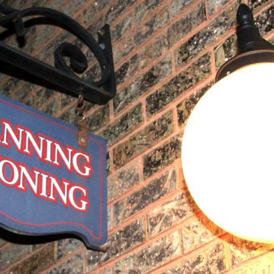 Planning and Zoning Sign--Night
