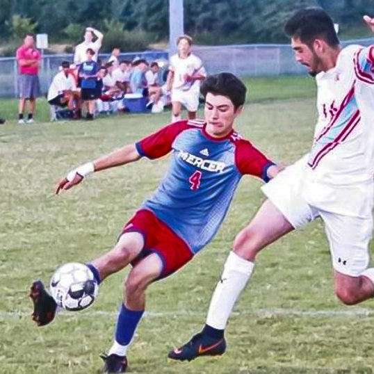 The Harrodsburg Herald/Wesley Bird Troy Rivera-Diaz makes a run at the goal in Mercer's loss to their district rival, West Jessamine.