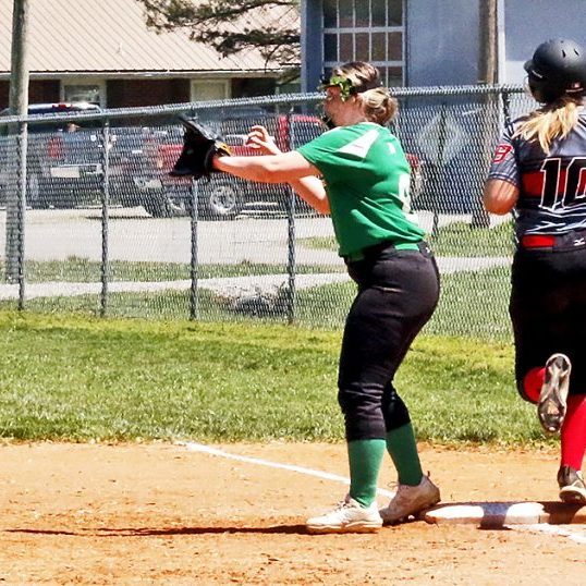The Harrodsburg Herald/Doug Brown Brittany Yates beat the throw to first base during the Lady Bulldogs 9-7 loss to St. Patrick on Saturday, May 1.
